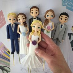 Bride & Groom Cake Toppers - cake by Crumb Avenue Diy Cake Topper, Cake Topper Tutorial, Fondant Tutorial, Bolo Fack, Fondant People, Bride And Groom Cake Toppers, Tiny Dolls, Wedding Templates, Sugar Art