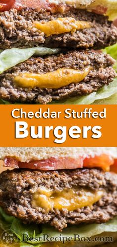Wow, these burgers are amazing and stuffed with cheese! Grilled cheeseburgers are the best when so much cheese is oozing from the center. Easy Bbq Recipes, Grilling Recipes, Meat Recipes, Dinner Recipes, Cooking Recipes, Healthy Recipes, Hamburger Recipes, Sandwich Recipes, Summer Recipes