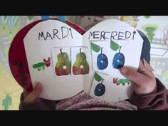 Make this book as a simple retell of the story. Students use simple language - focus on day of the week, numbers and food name. Education And Literacy, Kindergarten Literacy, Eric Carle, French Songs, Month Colors, French School, French Immersion, Very Hungry Caterpillar, French Lessons