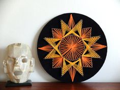 Vintage french circle Wall ABSTRACT STRING ART 70s 1970s seventies on Etsy, $59.89