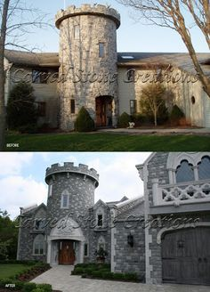 We transformed this home into a castle with natural stone cladding. Check out the before and after! #Stone #Castle #Design #Home