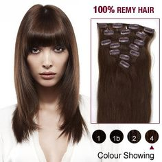 16 Inch 7pcs Straight Indian Clip In Remy Hair Extensions (#4 Medium Brown) 70g