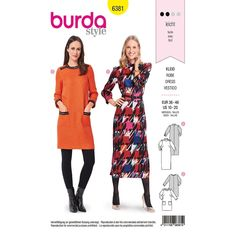 Get a super glam retro look with this new Burda dress sewing pattern. Options for a casual above the knee look with pockets or a midi length look that means business! Patten and suitable fabrics on our site. Burda Sewing Patterns, Simplicity Sewing Patterns, Vintage Sewing Patterns, Clothing Patterns, Sewing Ideas, Fabric Patterns, Sewing Hacks, Sewing Projects, Hugo Boss