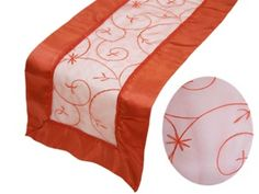 This Stunning Embroidered Burnt Orange #tablerunner Is Fashioned From  Delicate Organza. Add A Dash