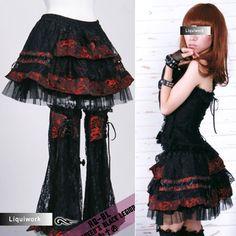 Black and Red Embroidered Dragon Mini Goth Skirt + Leg Warmers SKU-11406042