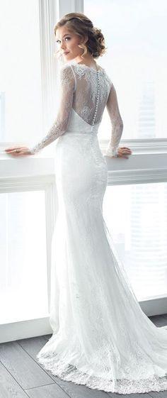 Long-sleeved lace Wedding Dress by Christina Wu Brides | @HouseofWuBrands #ChristinaWuBrides #ChristinaWu #HouseofWu
