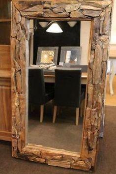 Grote Vergrijsd Houten Drijfhout Spiegel 85x65 Cm Www
