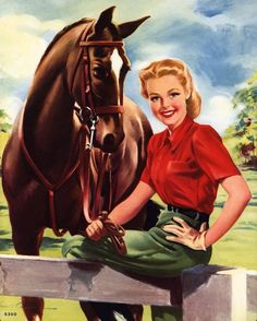 Cowgirl pin up Vintage Cowgirl, Vintage Horse, Vintage Art, Pinup Art, 1940s Pinup, Arte Equina, Woman Riding Horse, Cowboy Art, Equine Art