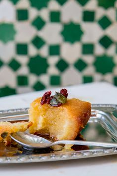 Buttermilk and Almond Basbousa with Orange and Cardamom Syrup — My Moroccan Food - arabicsweets Arabic Dessert, Arabic Sweets, Arabic Food, Moroccan Desserts, Moroccan Recipes, Morrocan Food, Middle Eastern Desserts, Semolina Cake, Indian Dessert Recipes