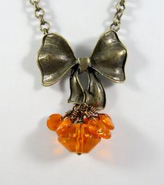 Orange necklace and matching earrings, by romanticcrafts, $22,00