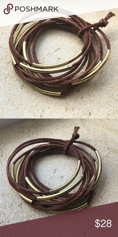 Brown leather with gold set of 10 bangle bracelets Love these!🌺 New, set of 10 brown leather bracelets, each with gold tube beads. Boho beachy perfect Jewelry Bracelets