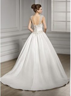 Ball-Gown Sweetheart Chapel Train Taffeta Tulle Wedding Dress With Ruffle Beading Sequins (002056606) - JJsHouse