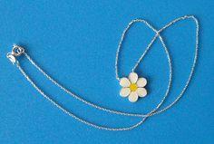 Sterling Silver Enamel Daisy Necklace