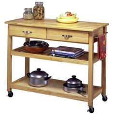Wood Top Rolling Kitchen Cart With Towel Rack (natural)