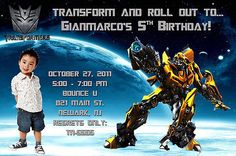 Transformers Bumblebee Optimus Prime Custom Photo Birthday Party Invitations | eBay