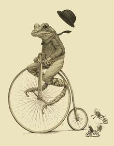 thefullerview:  (via Pinterest) Frog on a bike followed by cricket