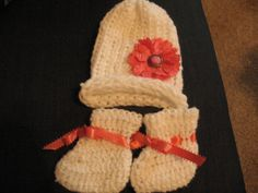 Baby's Crocheted Hat and Booties set in White by TheShoppingBasket