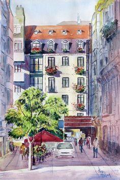 Diputación street, Bilbao, watercolour by Prabal Mallick, India. SOLD / VENDIDO