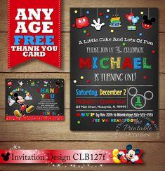 SAME DAY SVC Mickey Mouse Birthday Invitation Mickey Mouse   Etsy Mickey Mouse Birthday Invitations, Mickey Birthday, Printable Birthday Invitations, Party Printables, Invites, Birthday Ideas, Invitation Maker, Invitation Design, Invitation Templates