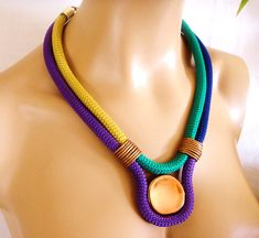 Multi color Rope Tribal Necklace, Statement Necklace, Gold Electric Blue Emerald and Purple Rope and Bronze details, Party Bling,Color Block...
