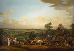 View of Wilanów meadows by Bernardo Bellotto, 1775 (PD-art/old), Zamek Królewski w Warszawie (ZKW), commissioned by Stanislaus Augustus, painted in the vicinity of the Belweder Palace (in 1795 inventory as Vue de Wilanów, prise de Belvedere) with some important contemporary landmarks - Villa of Princess Izabela Lubomriska in Mokotów (right), Church in Czerniaków and portraits of Maria Teresa Poniatowska and Józef Poniatowski (left)