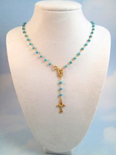 16 Turquoise Gold Rosary Necklace  Gold by divinitycollection, $80.00