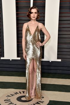 Pin for Later: Don't Miss 1 Single Look From the Oscars Afterparties Lily Collins Wearing Saint Laurent at Vanity Fair's Oscar party.