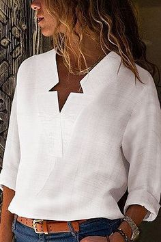 sexy v neck pure color blouses Source by Blouses Fashion Moda, Star Fashion, Casual T Shirts, Casual Outfits, Loose Shirts, Mode Outfits, Fashion Outfits, Fashion Clothes, Blouse Online