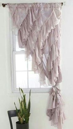 Curtains with diagonal ruffles