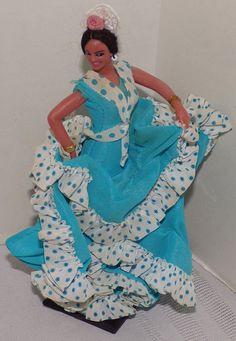 "Vintage Marin Chiclana Spanish Flamenco Dancer Doll blue polka dot dress 7 3/4"" | Dolls & Bears, Dolls, By Type | eBay!"