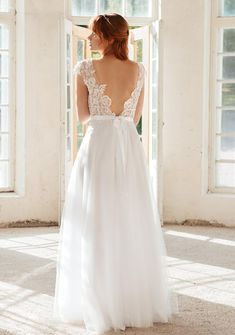 illusion lace wedding dress, modern trendy wedding gown with beaded lace appliqué. open back tulle wedding dress by batel boutique. Tulle Wedding, Wedding Gowns, Beaded Lace, Siena, Lace Applique, Trendy Wedding, Illusions, Mesh, Boutique