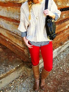 Layered sweater & gingham oxford, red skinny jeans and riding boots.