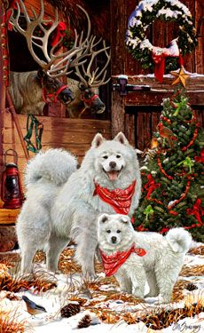 Samoyed Guarding Santa's Reindeer - by Margaret Sweeney Merry Christmas And Happy New Year, Christmas Love, Vintage Christmas, Christmas Holidays, Christmas Crafts, Christmas Scenes, Christmas Animals, Christmas Pictures, Winter Pictures