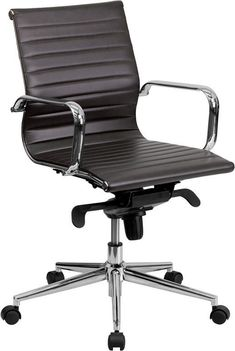 Flash Furniture BT-9826M-BRN-GG Mid-Back Brown Ribbed Upholstered Leather Conference Chair