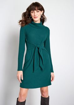 Pretty Outfits, Cute Outfits, Pretty Clothes, Work Dresses For Women, Cowl Neck Dress, Patterned Tights, Knee Length Dresses, Cute Dresses, Sweater Dresses
