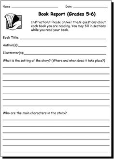 Book Report 5 & 6 - Writing Practice Worksheet for 5th and 6th Grade - JumpStart // free printable