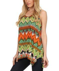 Look at this Karen T. Design Lime Zigzag Handkerchief Top - Women & Plus on #zulily today!