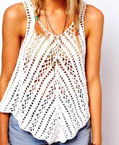 Crochet top boho patrón instrucciones en por FavoritePATTERNs