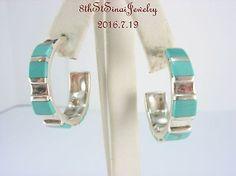 ##025 Estate-Sterling-Silver-925-Inlaid-Blue-Turquoise-Post-Hoop-Pierced-Earrings