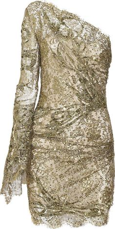 Emilio Pucci Asymmetric Embellished Mini Dress in Gold