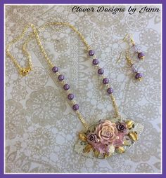 "FUF 4/14/17 .. A new line I'm starting up this week ""Garden Treasures"" .. This week featuring a few Shabby Chic pieces .. Rose Necklace .. Clever Designs by Jann"