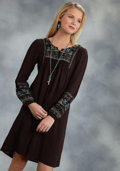 Roper® Women's Brown Rayon Embroidered Western Dress