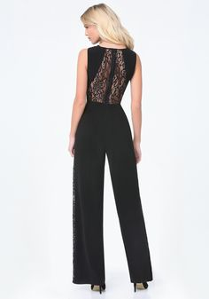 Buy Bebe Women's Black Petite Lace Panel Jumpsuit, starting at $97. Similar products also available. SALE now on!