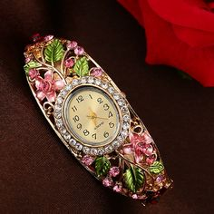 81d5e47ecc0e watch band black leather Picture - More Detailed Picture about Lvpai  Fashion Gold Watches Bracelet Watch Women Flower Gemstone Classic Alloy  Wristwatch ...