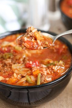 Jan 2020 - This Crock Pot Cabbage Roll Soup is a twist on traditional Cabbage Rolls, for a fraction of the work. With ground beef, cabbage, onion and vegetables; simmered in a rich tomato sauce in your slow cooker. Crock Pot Recipes, Crock Pot Soup, Slow Cooker Soup, Slow Cooker Recipes, Soup Recipes, Cooking Recipes, Healthy Recipes, Bread Recipes, Cooking Tips