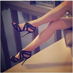 Fashionable Black Suede Cut-Outs Dress Sandals