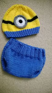 Knitted Minion Hat and diaper cover