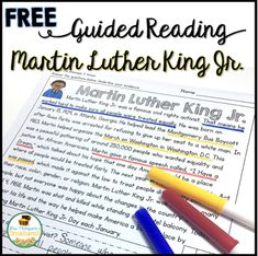 FREE - A fun and interactive passage with questions about Martin Luther King Jr. It is perfect for helping students build stamina and fluency while finding text evidence to prove their answers in the text. Guided Reading Groups, Reading Intervention, Reading Passages, Reading Comprehension, Reading Stations, Reading Strategies, Reading Skills, Classroom Freebies, Classroom Ideas