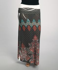 Take a look at this Gray & Red Arabesque Fold-Over Maxi Skirt - Plus on @zulily today!