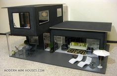 Modern Mini Houses: I'm a Giant crazy person Miniature Houses, Mini Houses, Miniature Dollhouse, Container Architecture, Barbie Doll House, Barbie Dolls, Container House Plans, Modern Dollhouse, Victorian Dollhouse